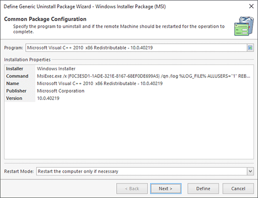 Microsoft Software Patch Configuration (Chosen from Inventory)
