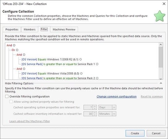 Configuring a collection with a Filter
