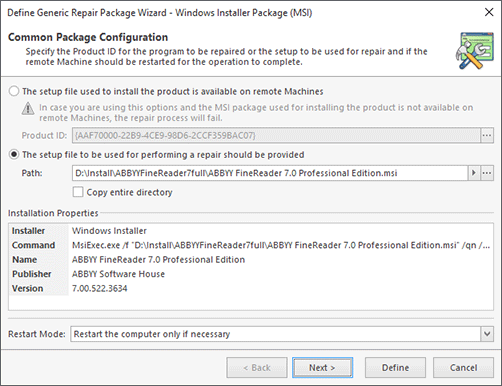 Windows Installer Package Configuration (Manual Configuration)