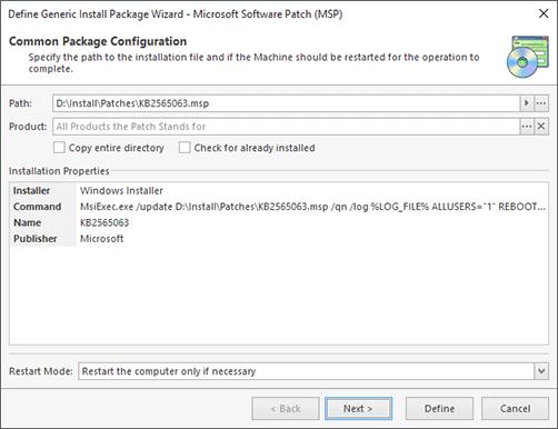 Microsoft Software Patch Configuration