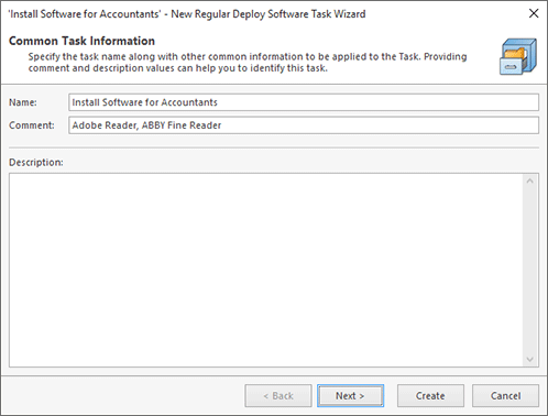 Creating a new Deploy Software task