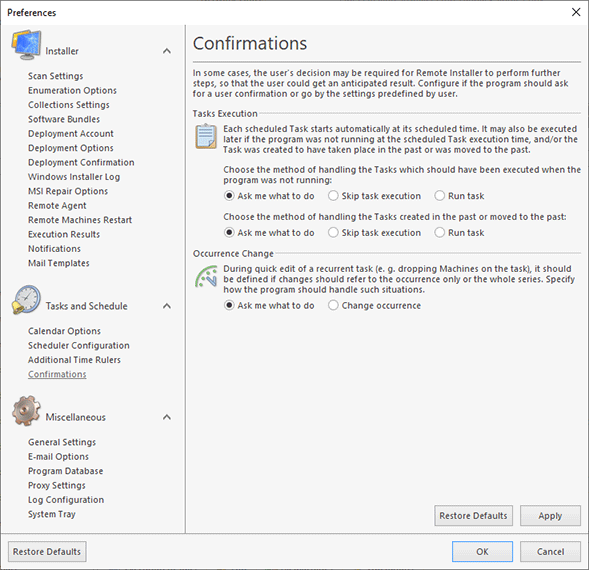 Configuring confirmations