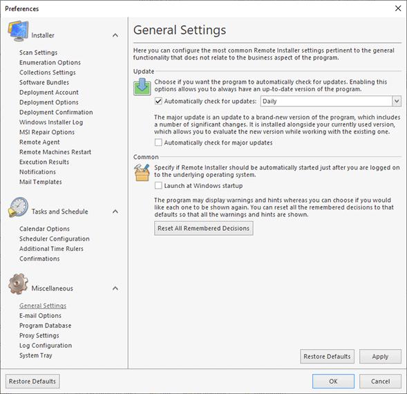 Configuring general settings