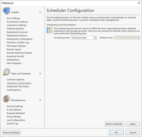Changing the Scheduler Configuration