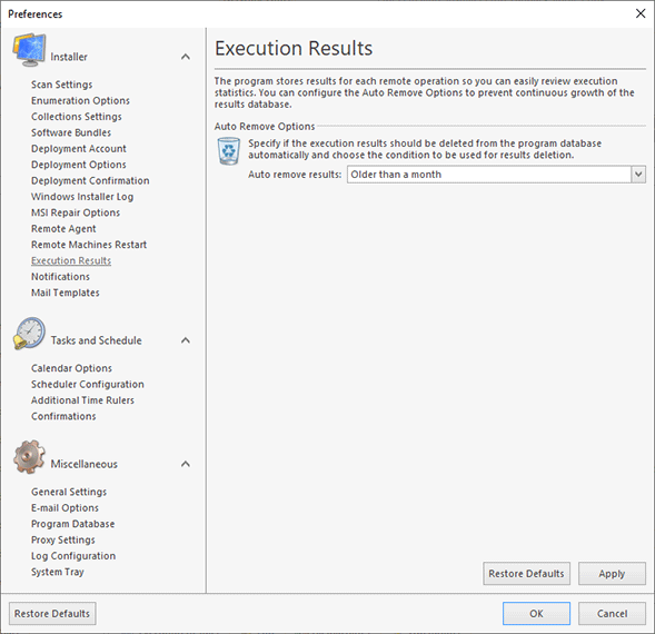 Configuring automatic removal of execution results