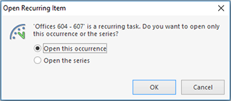 Change Recurring Item confirmation dialog