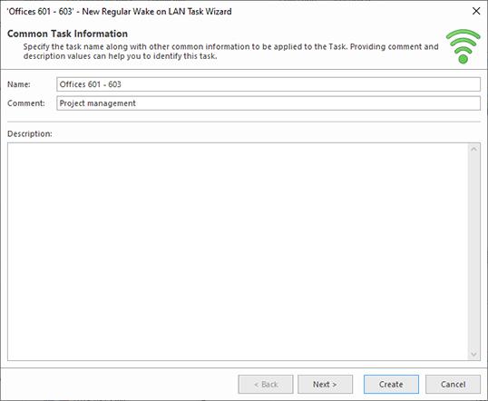 Creating a new Wake on LAN task
