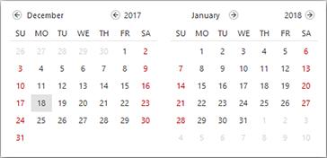 The Date Navigator pane