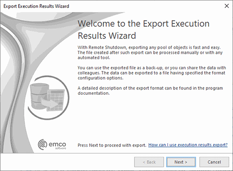 The Export Execution Results Wizard welcome page