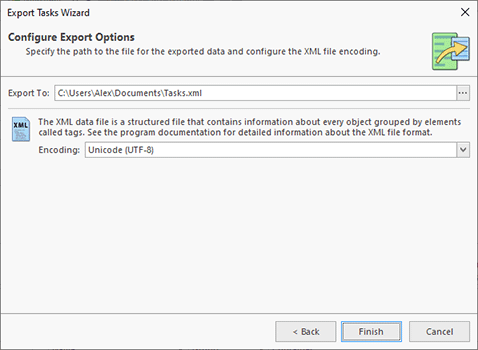 Configuring the export options
