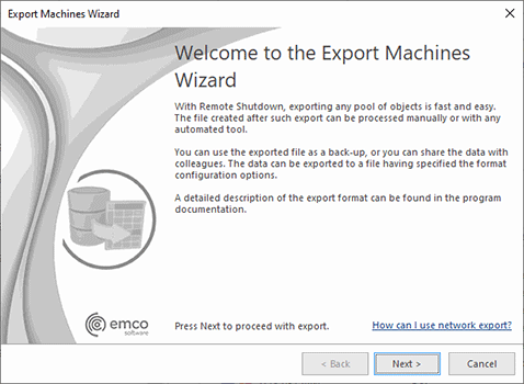 The Export Machines Wizard welcome page
