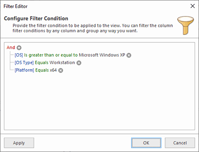 Using the filter editor