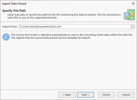 Choosing import source file