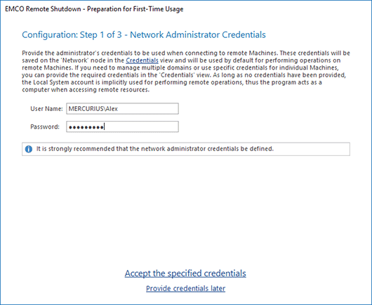 Credentials configuration in Initial Configuration Wizard