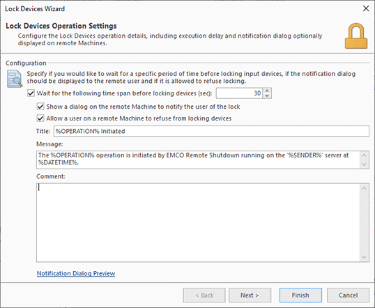 Configuring a lock devices operation