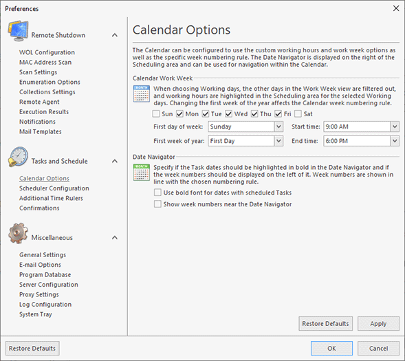 Configuring the Calendar Options