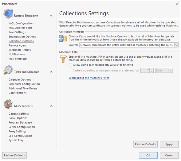 Configuring Collections Settings