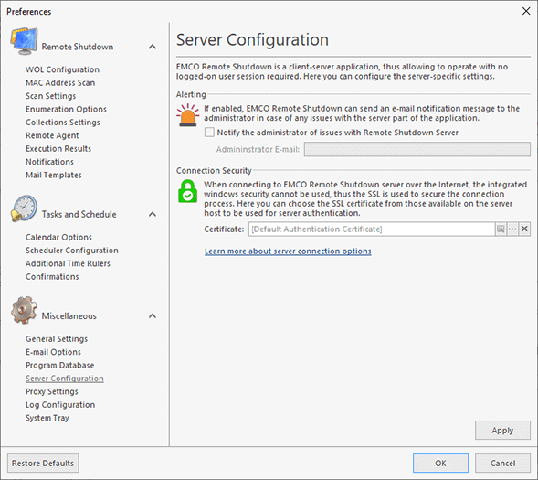 Configuring Connection Options