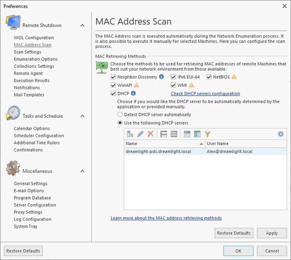 MAC Address Scan Page - Remote Shutdown