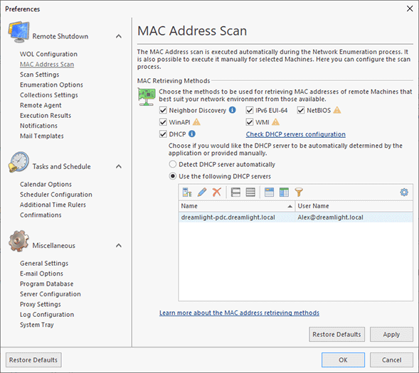 Configuring the MAC address scan