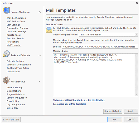 Configuring Mail Templates