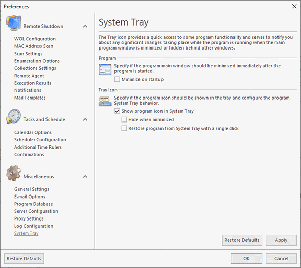 Configuring the System Tray behavior