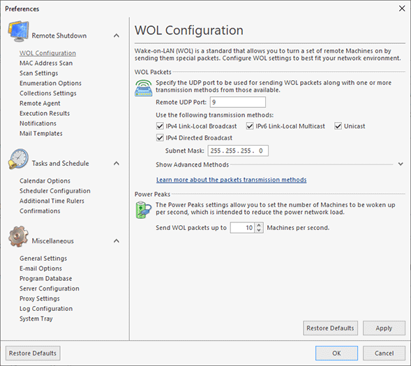 WOL transmission methods configuration