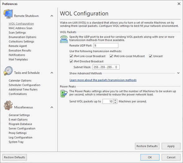WOL transmission methods configuration