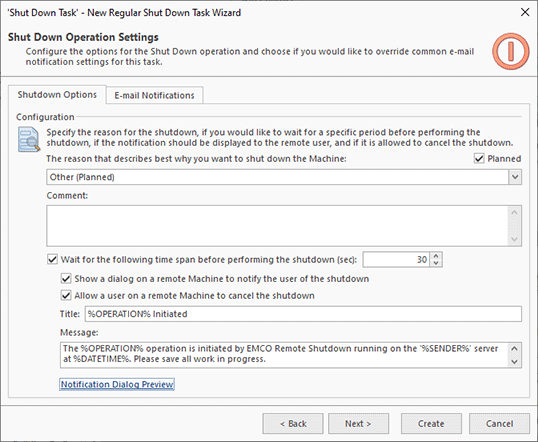 Shutdown options configuration in a task