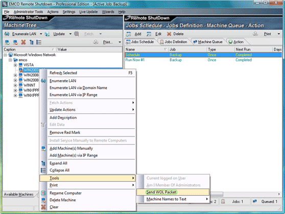 Send WOL packet from the context menu