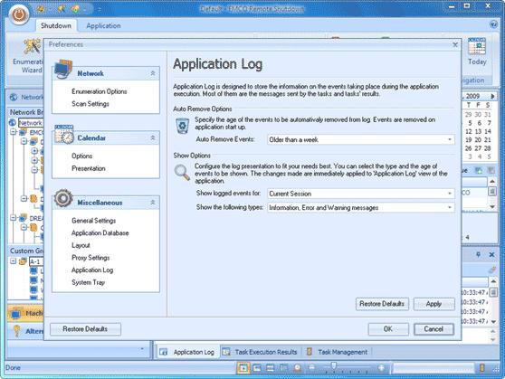 Customizable application log
