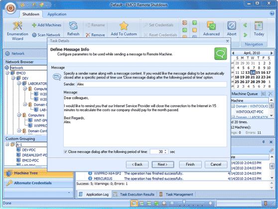Sending messages to remote PCs